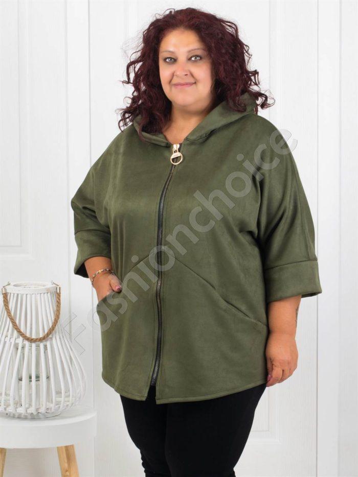 Сладко макси палтенце от набук в цвят каки-код 273-2