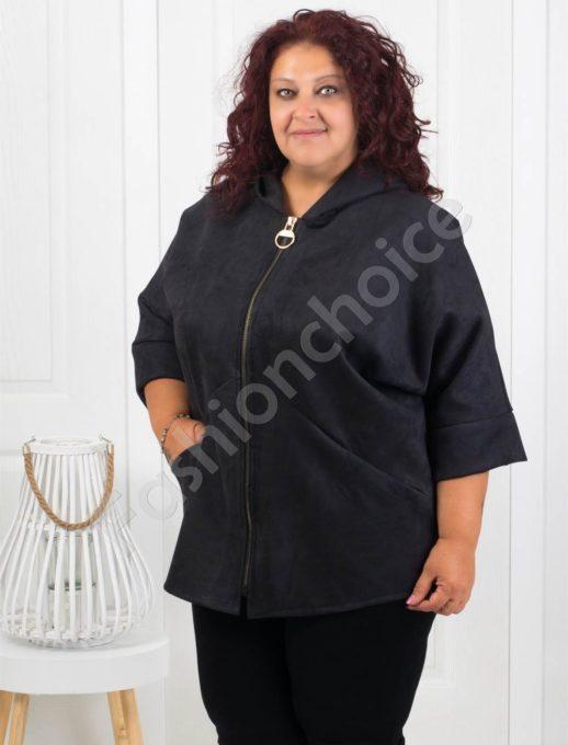 Сладко макси палтенце от набук в черно-код 273-4