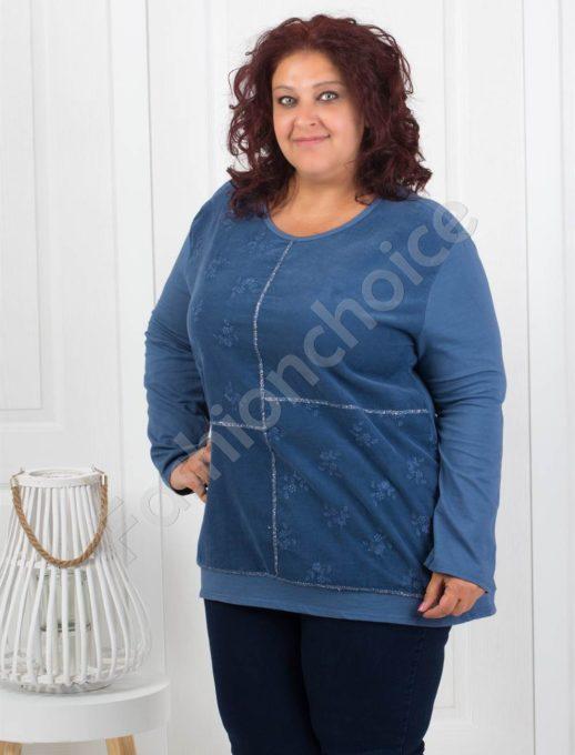 Приятна макси джинсова туника в синьо-Код 286