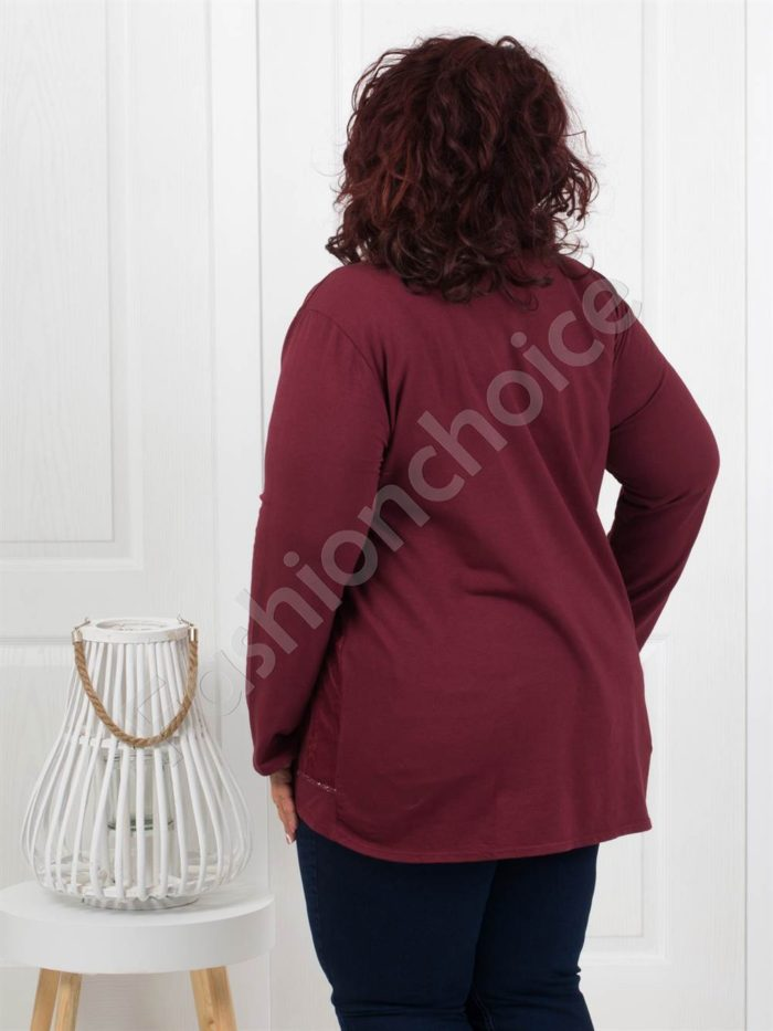 Приятна макси джинсова туника в бордо-Код 286-1