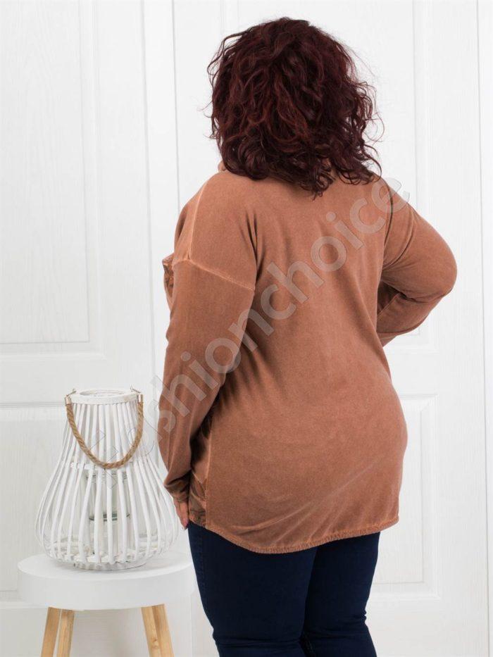 Дамски макси жакет в свеж десен-цвят камел Код 285