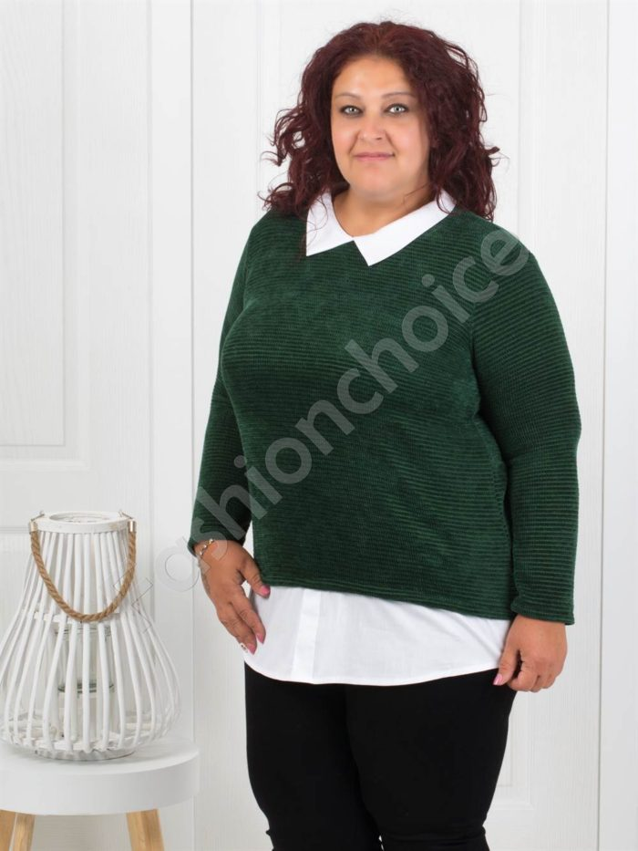 Прекрасна плътна макси блуза в маслено зелено-Код 282-3