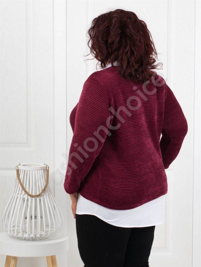 Прекрасна плътна макси блуза в бордо-Код 282-2