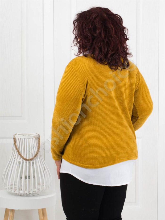 Прекрасна плътна макси блуза в цвят горчица-Код 282