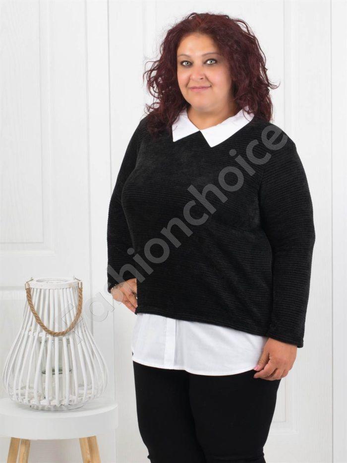 Прекрасна плътна макси блуза в черно-Код 282-1