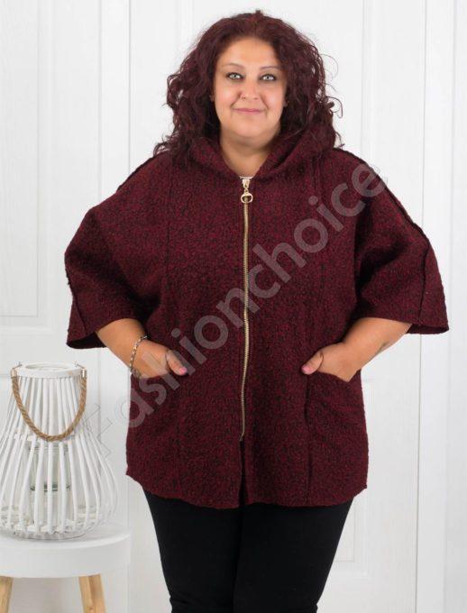Плътно макси палтенце от букле в бордо-Код 276-2