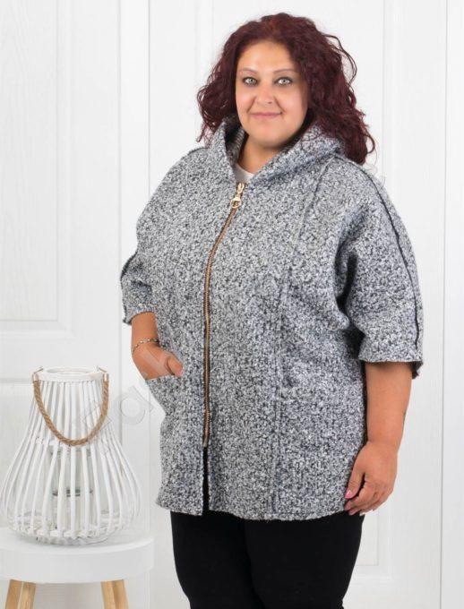 Плътно макси палтенце от букле в сиво-Код 276-1
