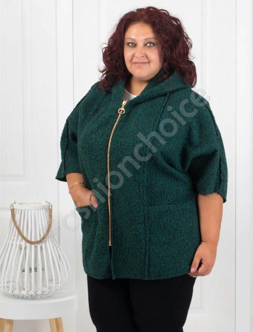 Плътно макси палтенце от букле в маслено зелено-Код 276
