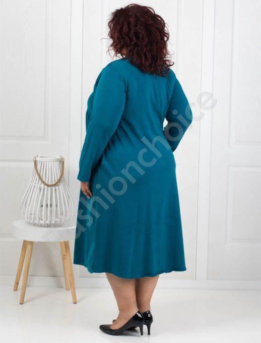 Стилна джинсова рокля в цвят аква+подарък бижу-Код 287-1