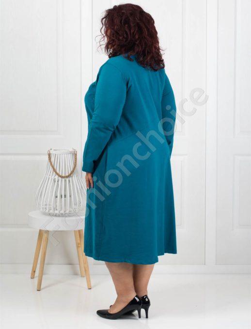 Стилна джинсова рокля в цвят аква+подарък бижу-Код 287-3