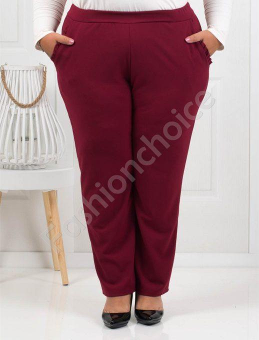 Стилен дамски макси панталон в цвят бордо-Код 288