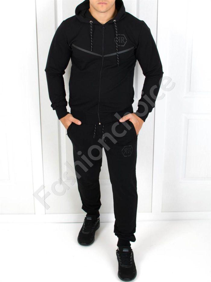 Мъжки изчистен спортен комплект в черно с щампа-Код 1248