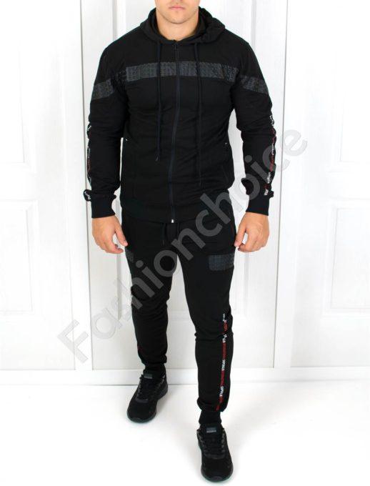 Мъжки спортен комплект с акцент кожена платка-Код 501