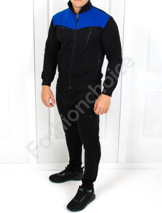 Мъжки спортен комплект в черно и кралско синьо-Код 5905
