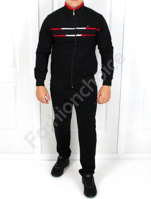 Мъжки спортен комплект в черно с цветен кант-Код 5907