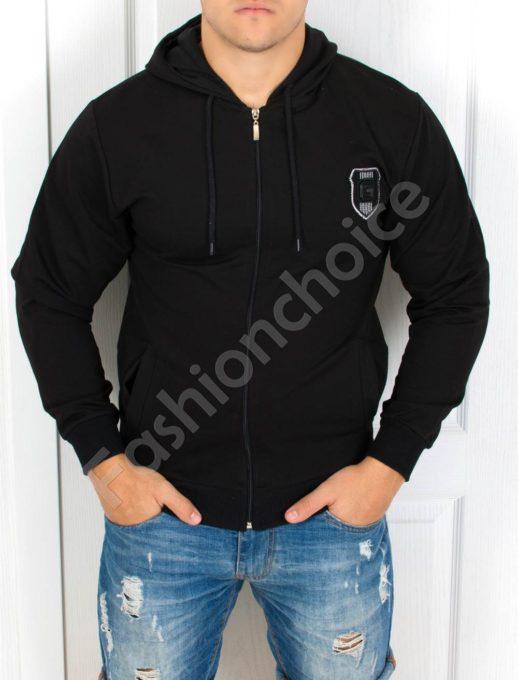 Мъжки суитшърт с качулка в черно-Код 2027