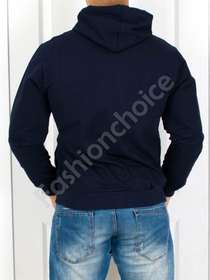 Мъжки суитшърт с бродерия и качулка в тъмно синьо-Код 2022