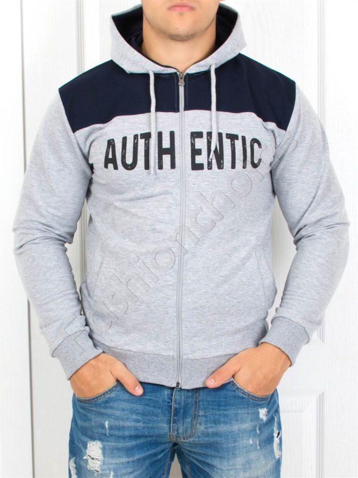Мъжки суитшърт ''AUTHENTIC'' в сиво-Код 2011