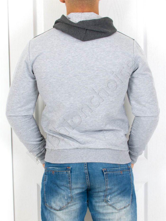 Мъжки суитшърт с щампа и качулка в сиво-Код 2013-1