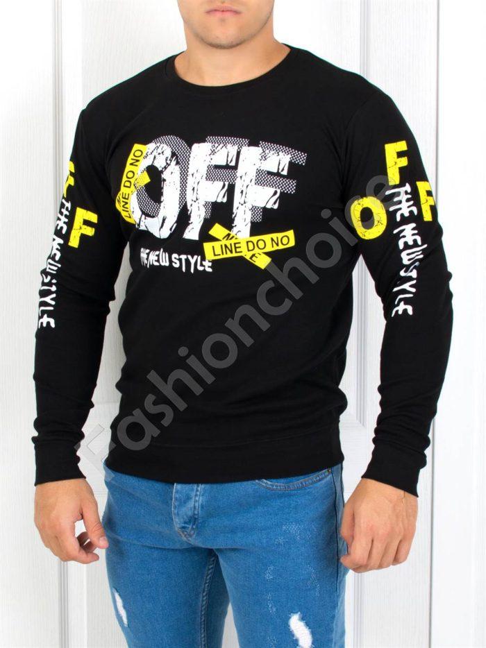 Черна стилна мъжка блуза с надпис ''OFF''-Код 1245