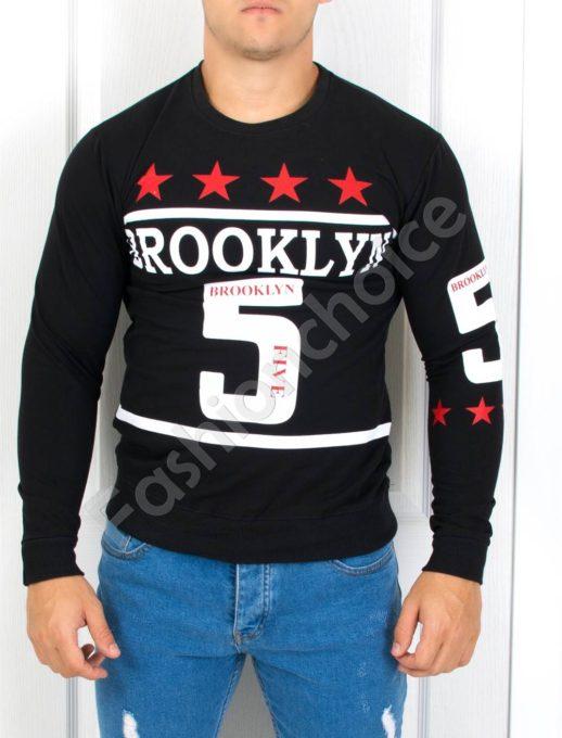 Стилна мъжка блуза с надпис ''BROOKLYN''-Код 3013