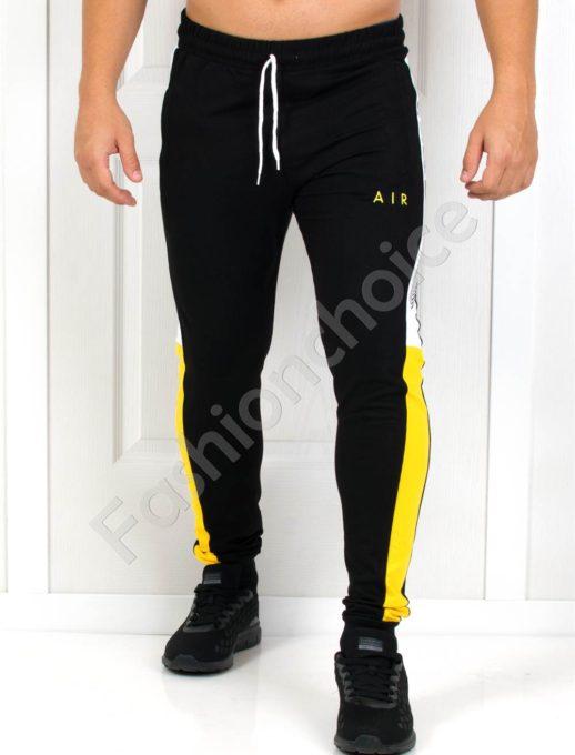Мъжко спортно долнище в черно с надпис AIR-Код 1004-1