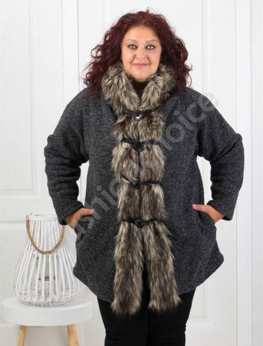 Вълнено дамско палто с прекрасен косъм в черно/58,60/-код 8060-1