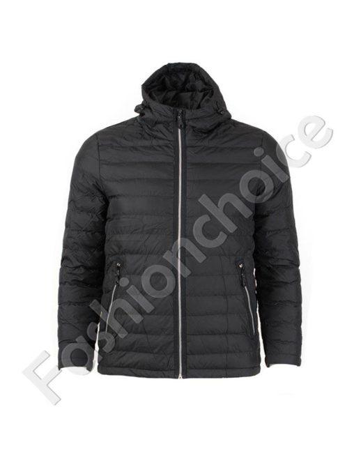 Мъжко яке с качулка в черно/макси размер/-код 005