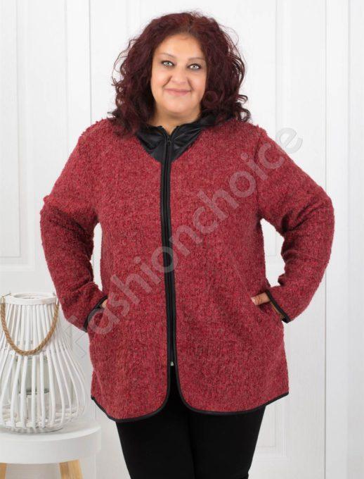 Практично вълнено макси палтенце в бордо-Код 055