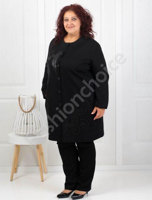Елегантно макси палто с нежна декорация-Код 3496