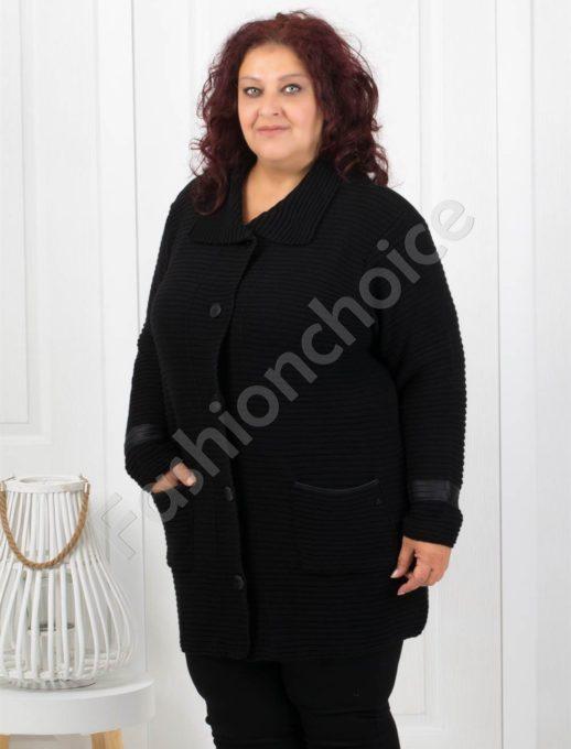 Топла макси жилетка в черно с джобчета-код 2072