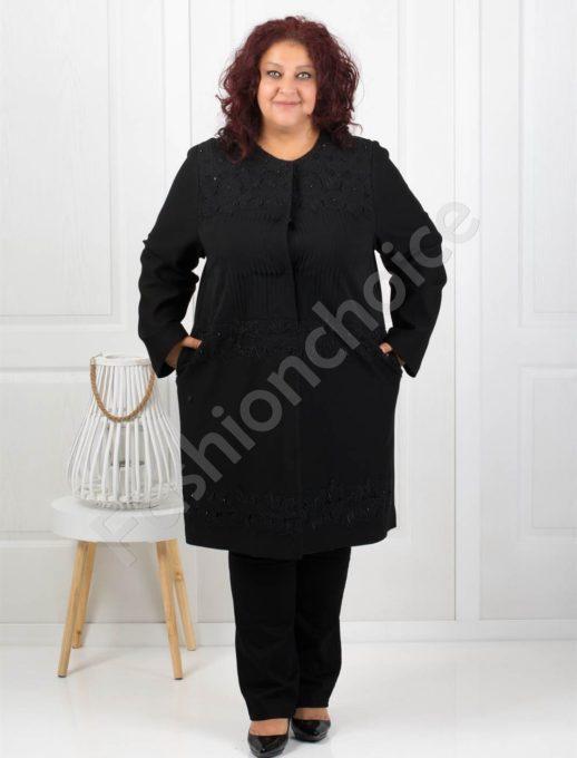 Стилно макси палто с елегантна брюкселска дантела-Код 3620