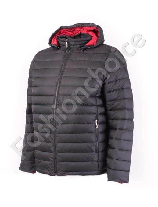 Мъжко яке с качулка в черно и червено/4XL-8XL/-Код 1981-3