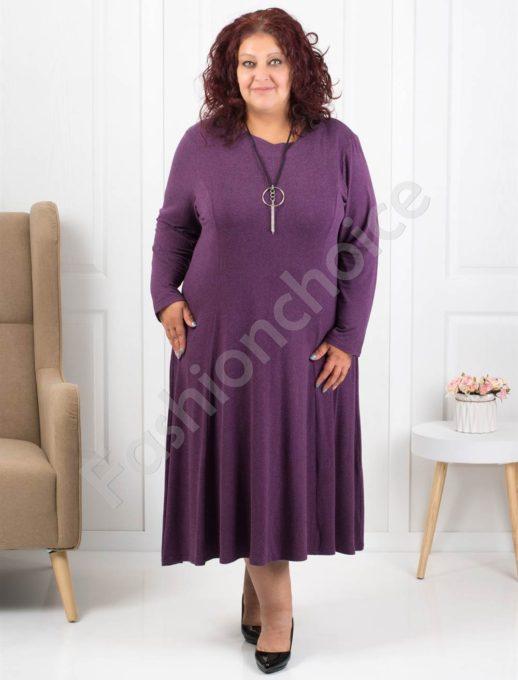 Плътна дамска макси рокля в лилаво+подарък бижу-код 6085-31