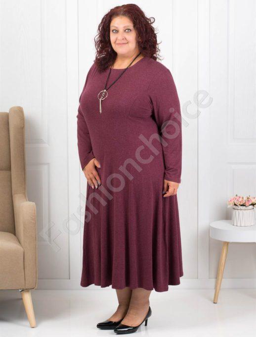 Плътна дамска макси рокля в бордо+подарък бижу-код 6085-32