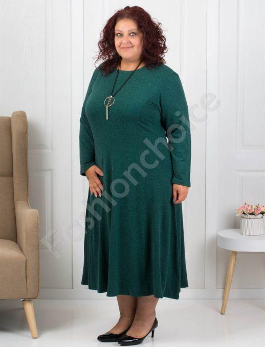 Плътна макси рокля в маслено зелено+подарък бижу-код 6085-33