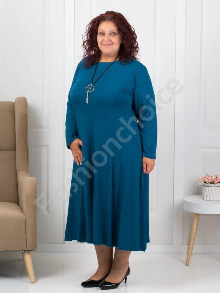 Плътна макси рокля в цвят петрол +подарък бижу-код 6085-34