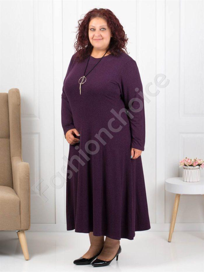 Плътна макси рокля в цвят малина+подарък бижу-код 6085-35