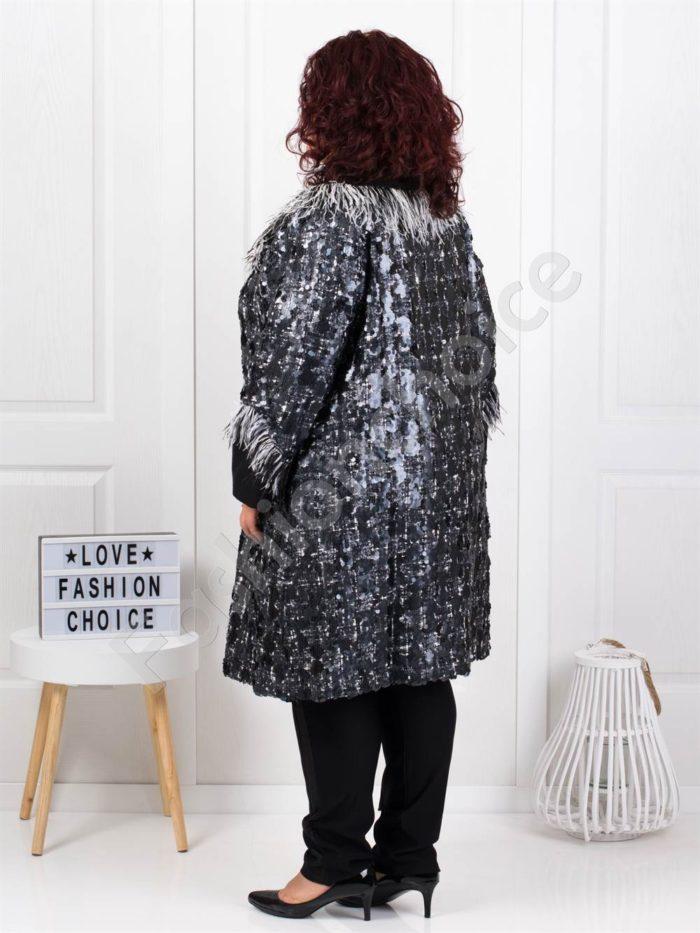 Луксозно плътно макси палто с пайети-код 3638