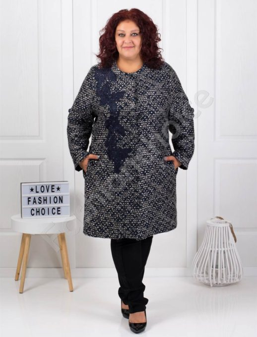 Елегантно макси палто в пепит с бродерия-код 3748