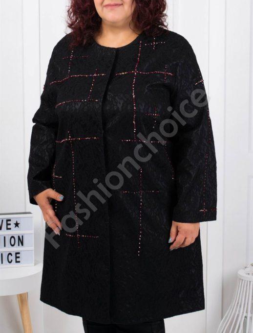 Красиво плътно макси палто с червени камъни-код 3579