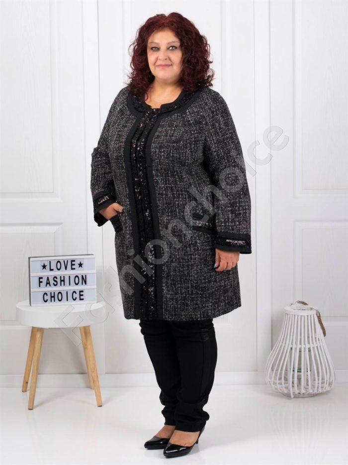 Елегантно макси палто в черен пепит-код 3673
