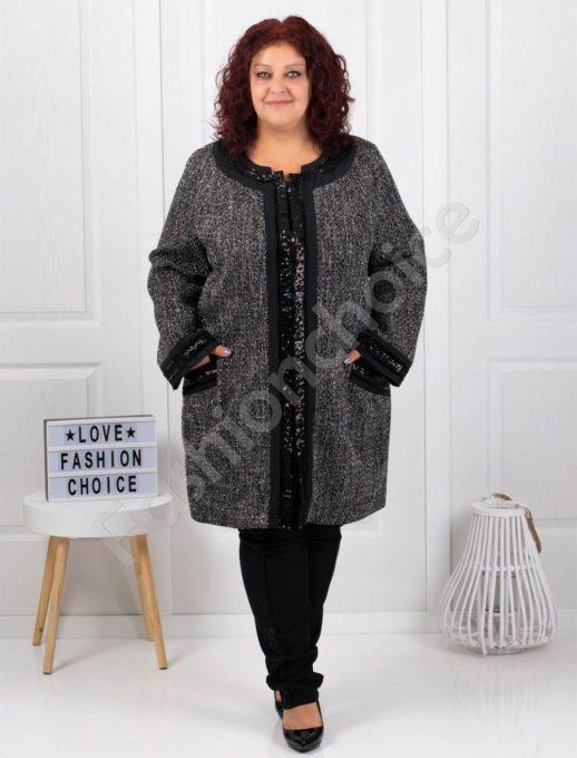 Елегантно макси палто в сребърен пепит-код 3673-1