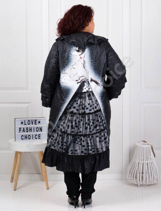 Елегантно макси палто с красива апликация на гърба-код 70877
