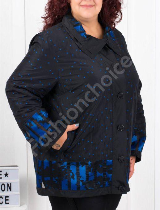 Кокетно шушляково палтенце на точки в синьо-код 61531
