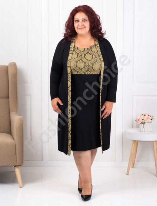 Елегантна макси рокля в черно със златиста платка-код 1300