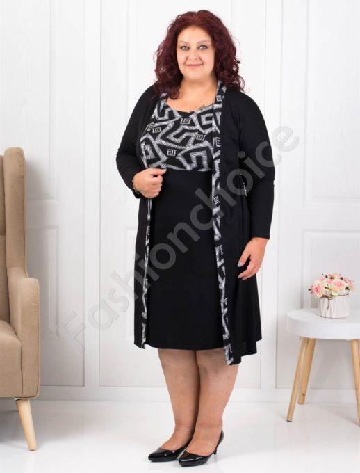 Елегантна макси рокля в черно със сиво-код 1300-3