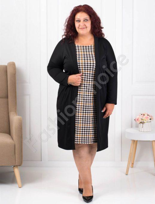 Елегантна макси рокля в черно със свежо каре-код 1300-2