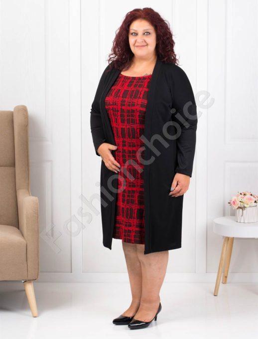 Елегантна макси рокля в черно с червено-код 1300-1