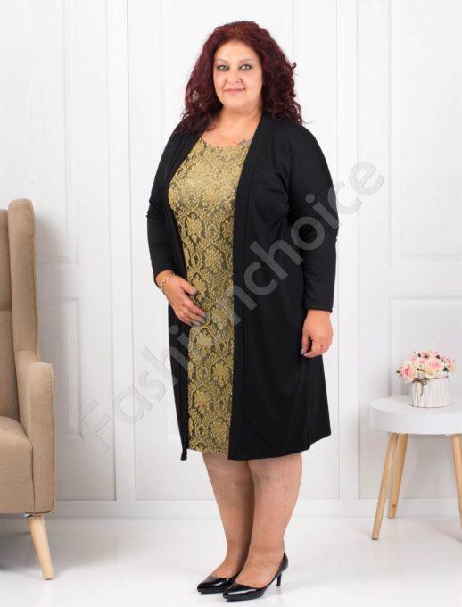 Елегантна макси рокля в черно и златист десен-код 1300-4